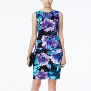 Connected Apparel Floral Print Sheath Dress